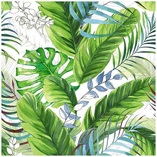 HaokHome 93053 Forest Peel and Stick Floral Papel pintado Palma Hoja de Plátano Blanco/Greeb/Azul extraíble para decoración del hogar Boho 45 x 299 cm