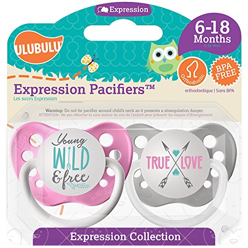 Ulubulu Girl Pacifier, Young Wild and Free & True Love, 6-18 Months