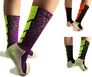 Non-Skid Non Slip Yoga Socks with Grips for Women Men Boy Girl,Perfect for Hospital Rehab, Traveling,Pilates,Barre,Trampoline,Fitness,Running,Basketball,Sports(3 Pack,3 Color)