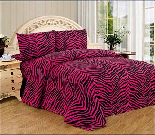 WPM 3 Piece Zebra Animal Print Super Soft Executive Collection 1500 Series Bed Sheet Set Twin Size (Pink Zebra)