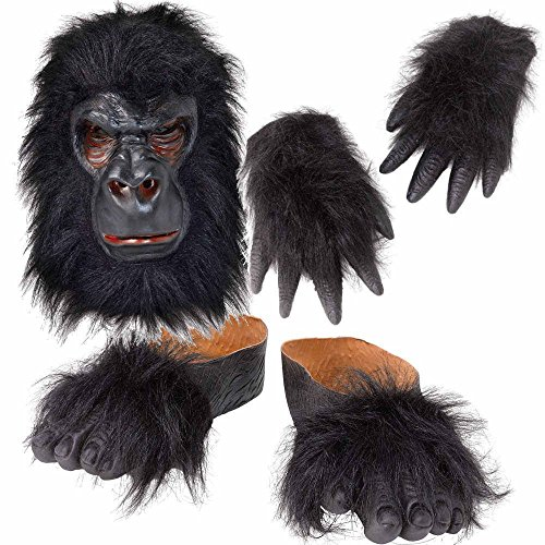 Gorilla Fancy Dress Costume Kit: Mask, Hands & Feet