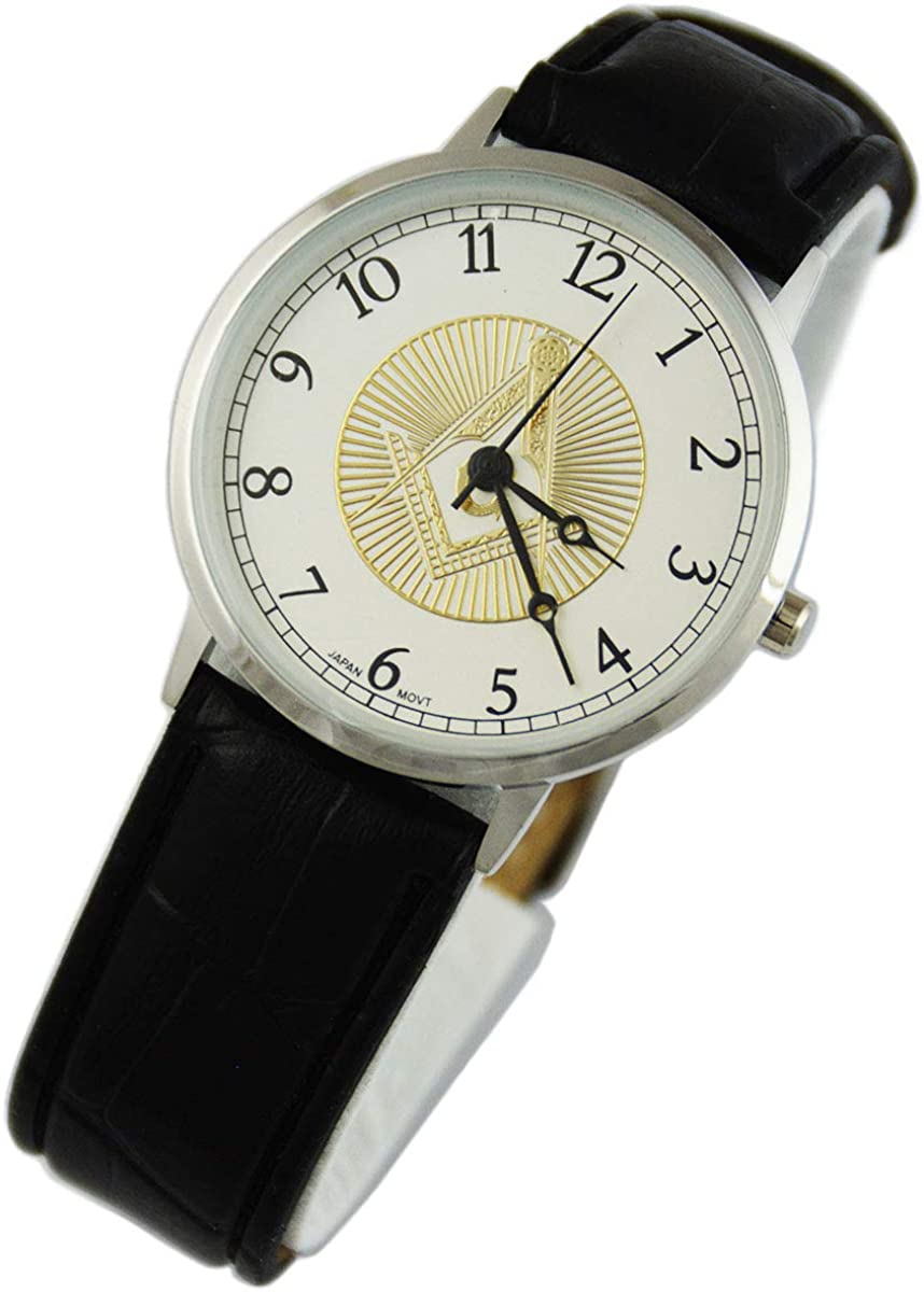 Square Compass Leather Masonic - Ranking TOP11 Watch Wrist Max 82% OFF Silver