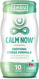 Zhou Calm Now Water Enhancer Soothing Stress Support Supplement | Help Keep Busy Minds Relaxed, Focused & Positive | 1.69 ...