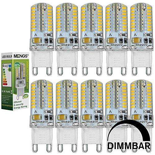 MENGS® 10 Stück Dimmbar G9 LED Lampe 3W AC 220-240V Warmweiß 3000K 64x3014 SMD Mit Silikon Mantel