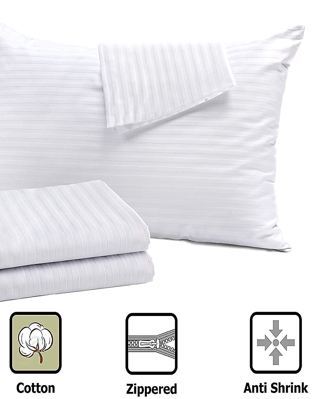 Niagara Sleep Solution 4 Pack Pillow Protectors Standard Control 20x26 Inches ? Life Time Replacement ? 100% Cotton Sateen High Thread Count 400 Style Zippered White Hotel Quality Covers Cases
