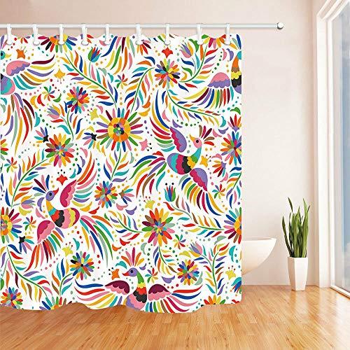 Nyngei Colorido Bordado Mexicano Cortina de baño Tela y 12 Ganchos 182,88 x 182,88 cm