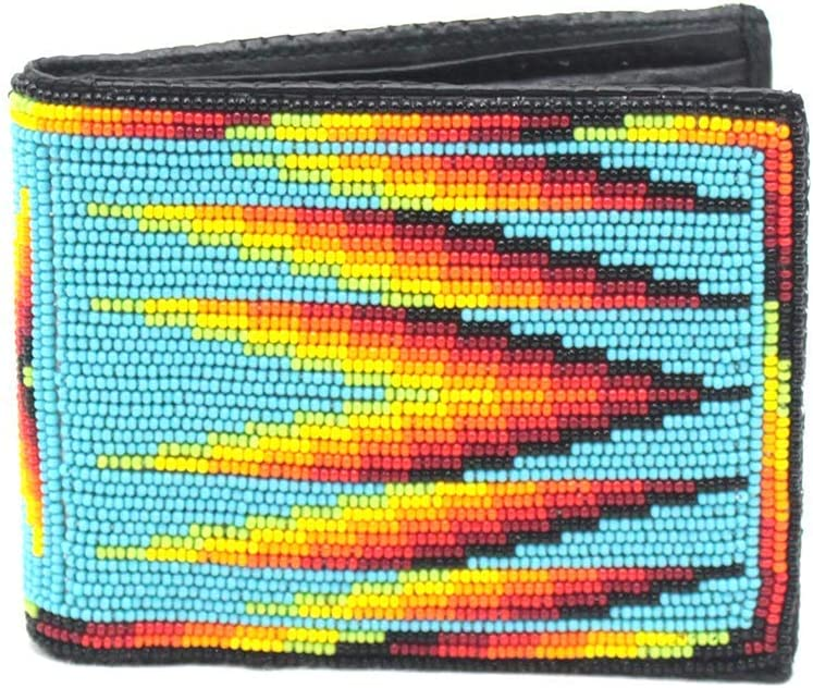 La vivia Handmade Multi-color Beaded Men's Leather Wallet, (Turquoise Blue - WL-01-SB-05)