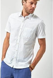 Camisa MC Listrada - Branco e Azul Claro