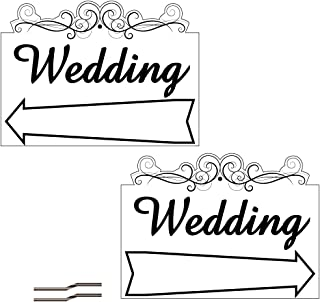 """VictoryStore Yard Sign Outdoor Lawn Decorations: 18"""" x 24"""" Corrugated Plastic Sign - 2 Sided Wedding Arrow Design with stakes"""