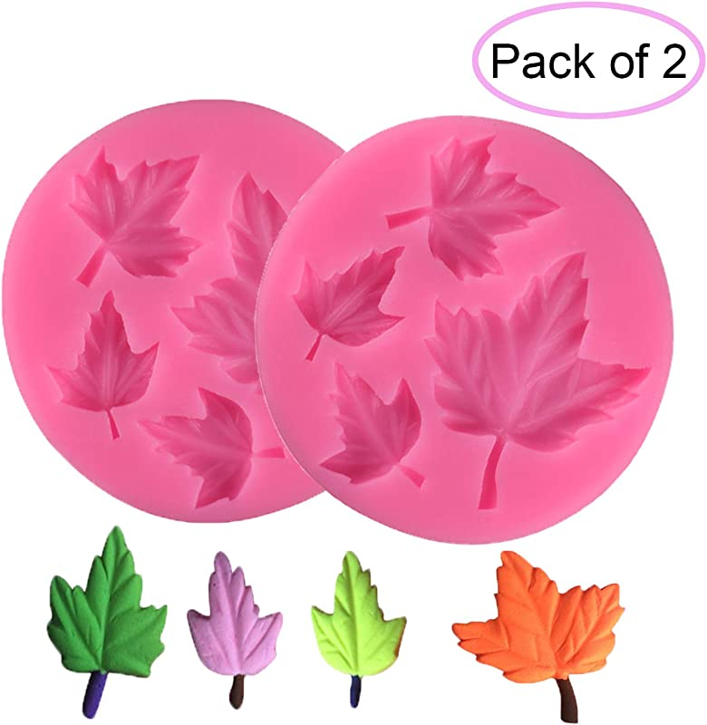 2 Sets Maple Leaves Silicon Molds Rubber Fondant Sugar Cupcake Decorating Mould Tools For Candy Chocolate Baking