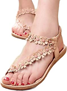 Sandalias de mujer plataforma ?? Amlaiworld Sandalias con cuentas de Bohemia para mujer de verano Sandalias con punta de clip Zapatos de playa Calzado zapatillas Mujer (Caqui, 36)