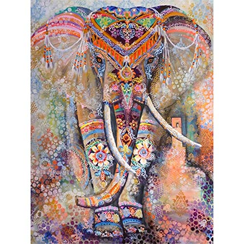 Tercc DIY Malen nach Zahlen Diamant Malere Kits, Abstrakter Elefant 30x40cm 5D Diamond Painting Set,Diamant Painting Bilder Arts Craft für Home Wand Decor V-3