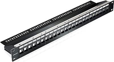 deleyCON 24 Puertos Patch Panel Modular para Módulos Keystone 1U (1HE) 19 Pulgadas el Montaje en Rack Compatible CAT5 CAT6 CAT7 LAN Red Negro