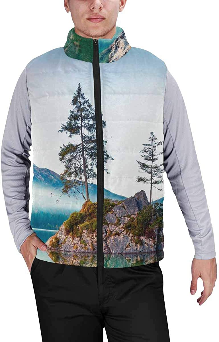 InterestPrint Men's Full-Zip Soft Warm Winter Outwear Vest Autumn Composition Wreath Made of Autumn Flowers and Leaves