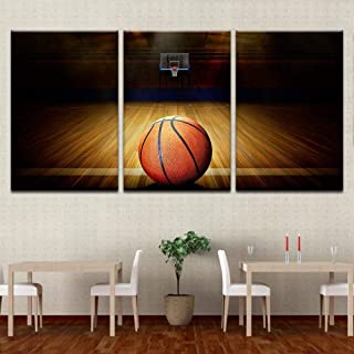 zhouyiz Modular Canvas Pictures Decoration Bedroom Or Living Room Framework Printing Basketball Court and Basketball Paintings Wall Art