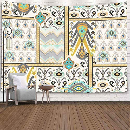 Decorative Wall Decor, Home Art Decor Ethnic Abstract Floral Pattern on Digital Cream Backgroundfor Living Room Dorm Background Tapestries