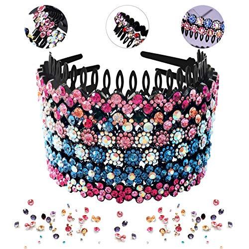 6 Pack Wave Rhinestone Teeth Comb Headbands for Women, ECANGO Flower Crystal Hairband Hair Hoop with Teeth Non-Slip Hard Plastic 3 Pattern (Shiny 6 Colors)