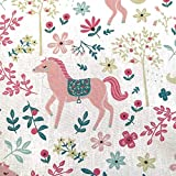 Stoff Meterware Baumwolle weiß rosa Pferde Blumen