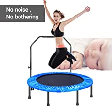MOVTOTOP Indoor Fitness Trampoline Folding 48 Inch with Adjustable Handrail and Safety Pad, Exercise Trampoline Rebounder for Kids Adults (Blue)