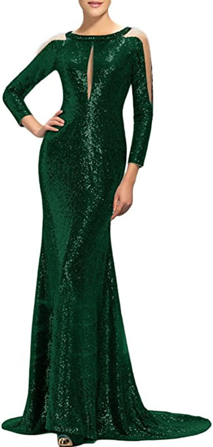 WHZZ Women's Sheath Sequins Evening Dress Long Mermaid Prom Gowns with Sleeves