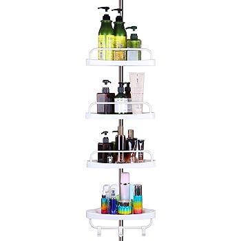 LETSDIYステンレス&メッキ浴室ラック コーナーラック高さ185~310cm錆に超強い4段式 突っ張りラック