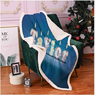 Taylor Blankets and Throws Common Given Name in English Happy Occasion Candles Font Design on Blue Sherpa Throw Blanket Blue and Multicolor 60