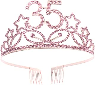 Beaupretty 35th Birthday Tiara Crystal Rhinestone Women 35th Birthday Crown with Comb (Rose Gold)