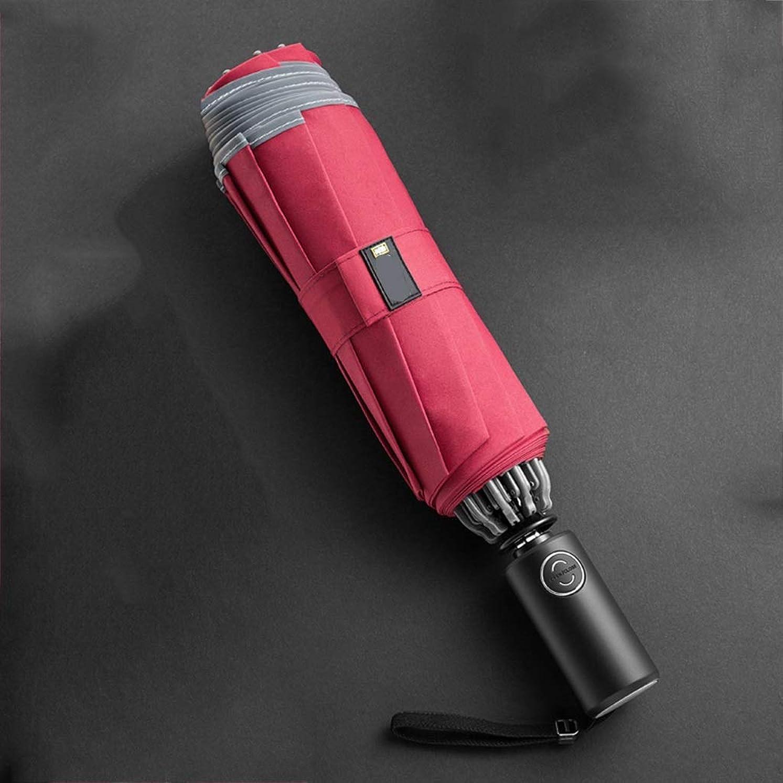 あなたが良くなります凝視電話する自動開閉逆傘傘太陽傘折りたたみ傘耐候性のある傘 ZHYGDQ (Color : Red)