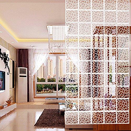 Yizunnu Juego de 12 paneles separadores de ambientes, madera/plástico, panel de pantalla para colgar, plegable, privacidad, decoración para partición de hogar, 29 x 29 cm, diseño geométrico, blanco
