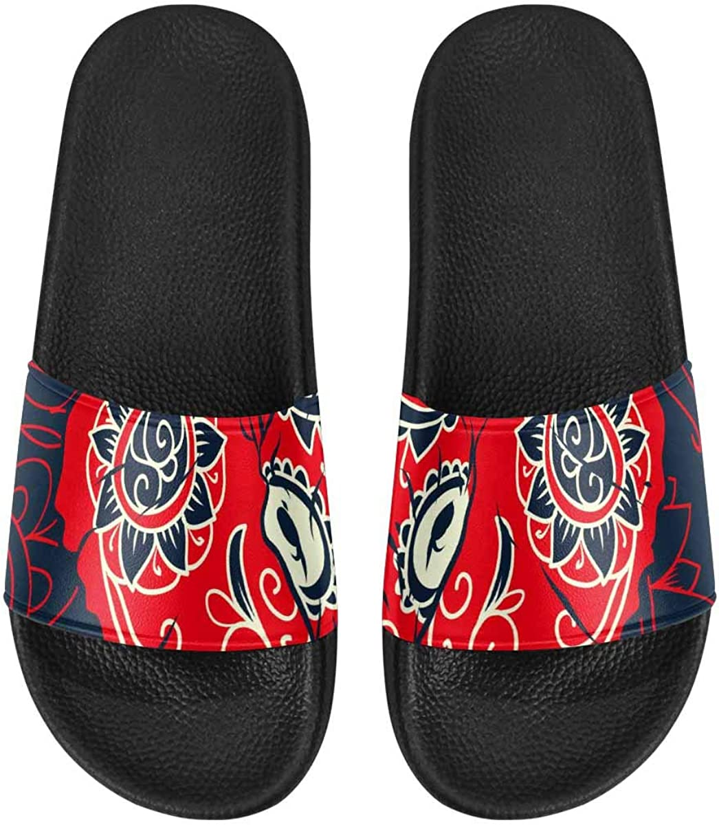InterestPrint Women's Stylish Slipper Sandals Made from Soft Material Colorful Sugar Skull