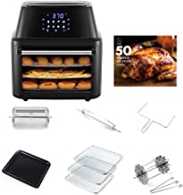 SOING Air Fryer Oven Family Size 16QT 8 in 1 Cooking Features,1800-Watt Programmable for Air Frying,Roasting,Reheating & Dehydrating with 8 Pre-Set Recipe,Soing Professional Cookbook Included,Black