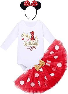 FYMNSI Baby Mädchen 1. / 2. Geburtstag Outfit Baumwolle Langarm Body  Gepunktet Tütü Rock  Ohr Stirnband 3tlg Bekleidungsset Fotoshooting Kostüm