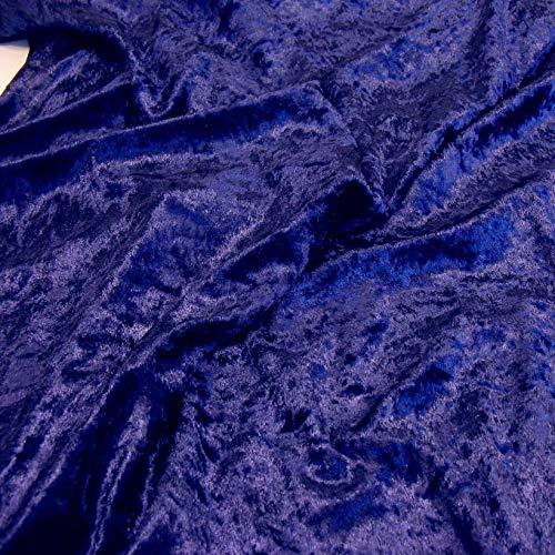 TOLKO 1m Pannesamt als Meterware Edel glänzender Stretch Samt-Stoff zum Nähen Dekorieren | 145cm breit Kleidungsstoff Dekostoff Modestoff Polyesterstoff für Vorhänge Gardinen Bühne (Nachtblau)