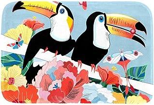 EGGDIOQ Doormats Birds Toucans Butterflies Floral Background Custom Print Bathroom Mat Waterproof Fabric Kitchen Entrance ...
