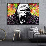 Impression sur Toile Abstrait Orang-outan Salon HD Impression Toile Peinture à l'huile décor à la maison80x120cmPeinture sans Cadre