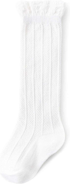 Knee High Socks for Baby Girls Long Stockings Toddler Cotton Tube Socks for Infant Kids 3-12 Months White
