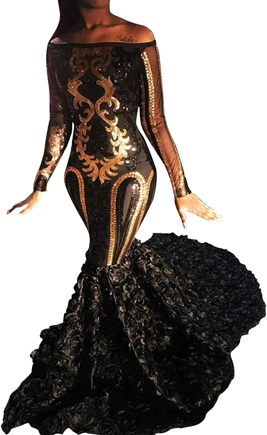 Adonis Pigou Sexy Mermaid Black Formal Evening Prom Gowns gold Sequined Party Dress with Sleeves