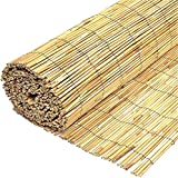 FB FunkyBuys® Garden Natural Peeled Reed Screening Roll Screen Fence Fencing Penal Wooden (H: 1M x L: 4M)