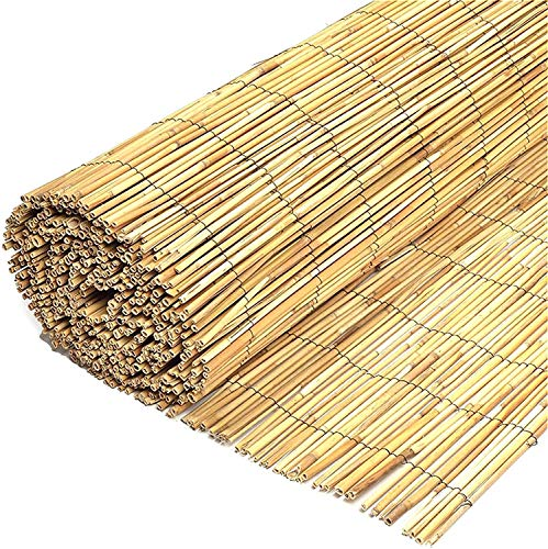 FB FunkyBuys Natural Garden Fence Screening Peeled Reed Roll Screen Fencing Penal Border (H: 1.5M x L: 4M)