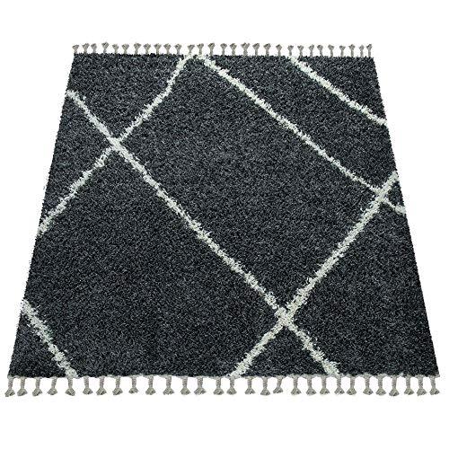 Paco Home Shaggy Teppich Wohnzimmer Hochflor Rauten Muster Skandi Design vers. Farben u. Größen, Grösse:140x200 cm, Farbe:Anthrazit