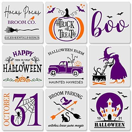 9 plantillas reutilizables de pintura de Halloween, para hacer tú mismo tus propios letreros de madera de Halloween, tamaño (8 x 8 pulgadas)