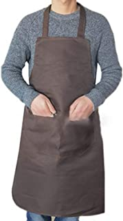 Pure Color Cooking Apron for Woman Men Cooking Thicken Household Cleaning Sleeveless Apron Cotton Polyester with Double Pocket,Coffee