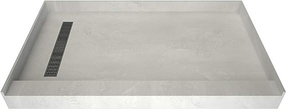 "Tile Redi USA RT3660L-PVC-SQBN Redi Trench Shower Pan, 60"" W x 36"" D, Brushed Nickel"