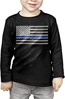 Cotton Thin Blue Line Flag Long Sleeve T-shirt For Toddler Kids Comfy