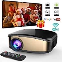 Wireless WiFi Video Projector DIWUER Full HD 1080P Portable Mini Projectors Support Airplay Mira-cast for Home Theater Game Movie