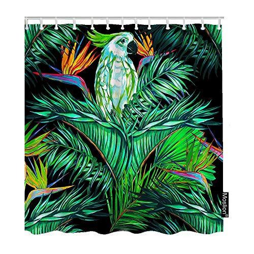 kuanmais Lustiger Duschvorhang Papageien Blumen Dschungel Tropische Palmenblätter Wasserdicht & schimmelresistent Polyester Stoff Badevorhang mit 12 Haken Maße: 180 x 240 cm