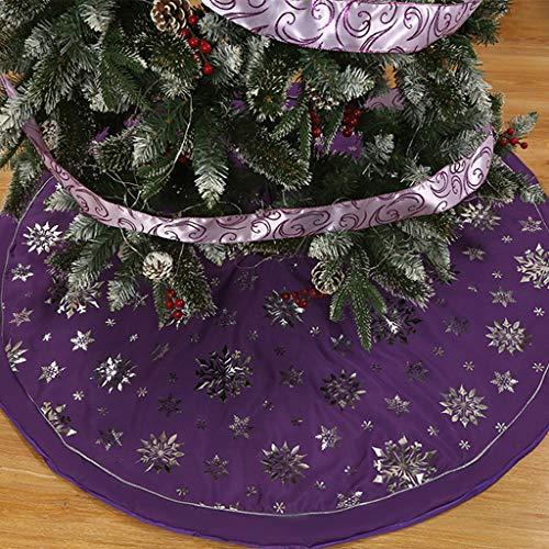 Weihnachtsbaum Decke, Rentier Gedruckt Weihnachtsbaum Rock Dekoration Schneeflocken Weihnachtsbaumdecke Elch Weihnachtsbaum Röcke Weihnachtsschmuck Weihnachtsbaum Deko Weihnachtsdeko (Lila, 120cm)