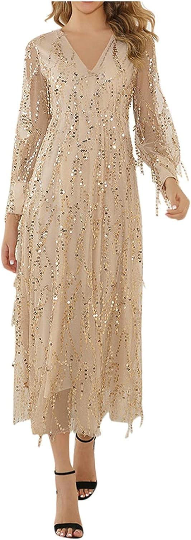 Beach Dresses for Women Casual Summer Formal Wedding Bridesmaid High-Waist Party Ball Prom Gown Cocktail Fall Maxi Dress