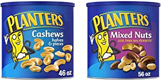 PLANTERS Cashew Halves & Pieces, 46 oz Resealable Canister - Roasted in Peanut Oil - Convenient Size Snack - Kosher Snack...