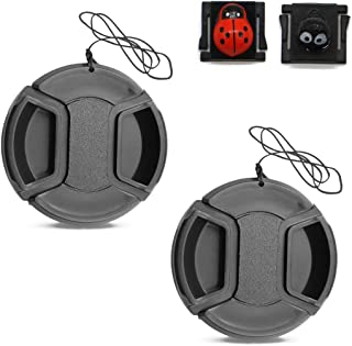 2 Packs 58mm Snap On Center Pinch Lens Cap,Camera Lens Cover, Lovely Hot Shoe Caps,1x Briquettes Elf Hot Shoe +1x Ladybug Hot Shoe - Compatible with Nikon, Canon, Sony & Other DSLR Cameras